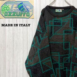 イタリア製 デザインニット セーター ウール 春 秋 ヴィンテージ 52