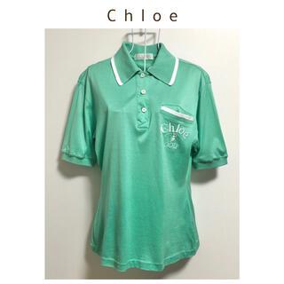 クロエ(Chloe)のChloe GOLF〈クロエ〉ロゴ刺繍 半袖 コットンストレッチシャツ(シャツ/ブラウス(半袖/袖なし))
