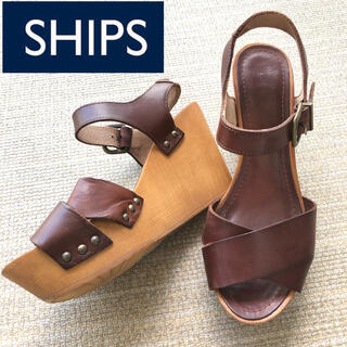 SHIPS - ウェッジ ウエッジ サンダル シップス SHIPS ブラウン 茶色 ヴィンテージ