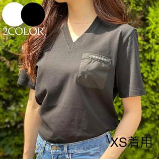プラダ(PRADA)のプラダ PRADA VネックTシャツBLACK White コットンユニセックス(Tシャツ(半袖/袖なし))