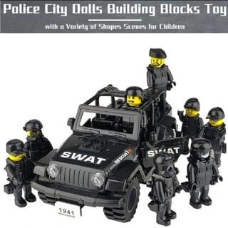 SWAT  ジープ&ミニフィグ8セット ポリス 警察 レゴ互換性 フィグ