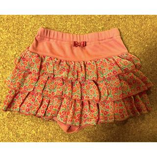 サンカンシオン(3can4on)の花柄 フリル キュロットスカート 100cm(スカート)