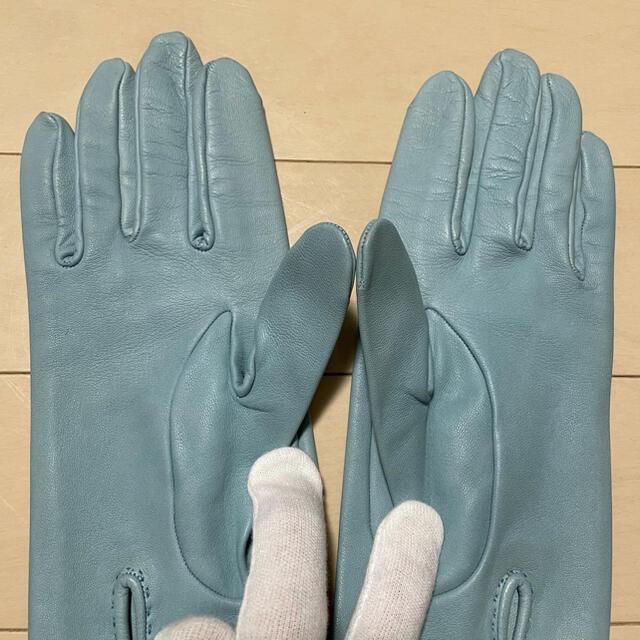 Hermes(エルメス)の本物 エルメス カラフルリボンデザイン レザー グローブ 革 手袋 7 水色系 レディースのファッション小物(手袋)の商品写真