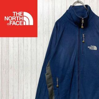THE NORTH FACE - ノースフェイス フリースジャケット ネイビー 刺繍ロゴ ジップアップ M
