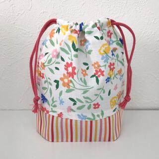 パステルフラワーのコップ袋 給食袋 花柄 パステルカラー 女の子用 入園グッズ(外出用品)
