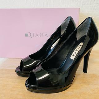 DIANA - 【新品・未使用品】DIANAオープントゥパンプス エナメル ブラック 22.0㎝