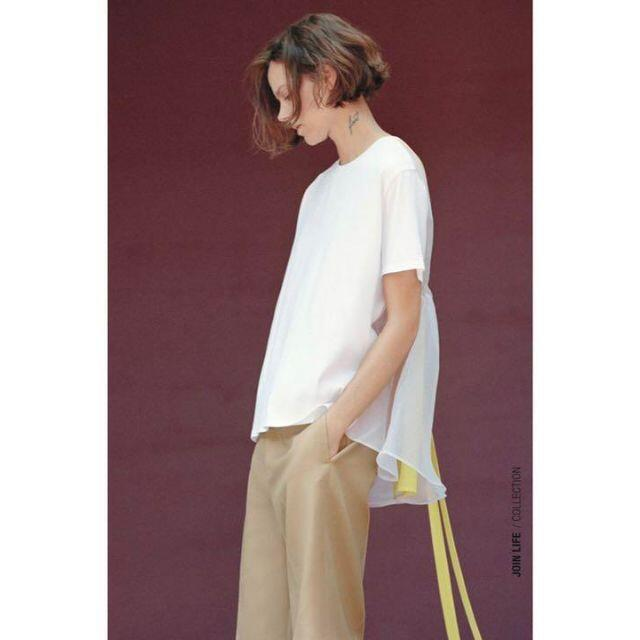 ZARA(ザラ)の19 ZARA ザラ 新品 オーガンザ素材コントラストTシャツ L レディースのトップス(Tシャツ(半袖/袖なし))の商品写真