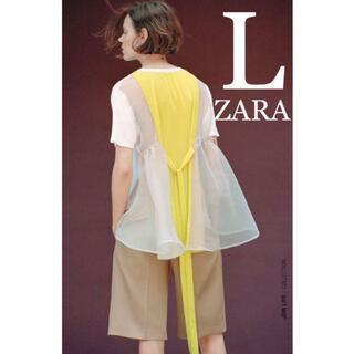 ZARA - 19 ZARA ザラ 新品 オーガンザ素材コントラストTシャツ L