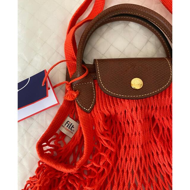 LONGCHAMP(ロンシャン)の新品 ロンシャン プリアージュフィレ Le Pliage Filet オレンジ レディースのバッグ(トートバッグ)の商品写真