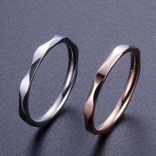 ペア New波カットリング ステンレスリング ステンレス指輪 ピンキーリング(リング(指輪))