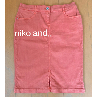 niko and... - ②ニコアンド デニムタイトスカート オレンジ 膝丈