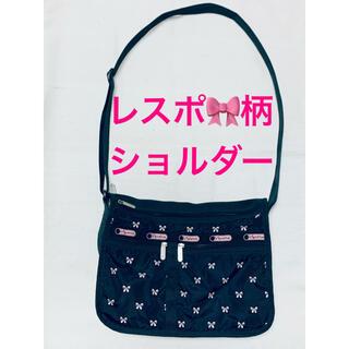 LeSportsac - レスポートサック エブリデイ ショルダーバッグ 限定 黒 ピンク リボン刺繍