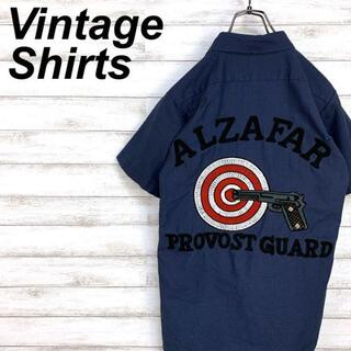 希少 90s 半袖ワークシャツ ワッペン刺繍 ヴィンテージ USA製