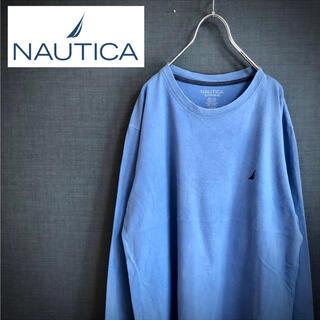 ノーティカ(NAUTICA)のNAUTICA ノーティカ ワンポイントロゴ刺繍 クルーネック ロンT サックス(Tシャツ/カットソー(七分/長袖))
