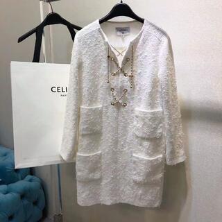 シャネル(CHANEL)のCHANEL シャネル CCロゴ コットン ツイード ドレス ワンピ(ミニスカート)