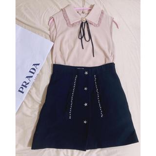 miumiu - ミュウミュウ ブラウス トップス ピンク ビジュー フリル襟