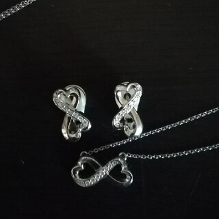 Tiffany & Co. - ティファニー ダブルラビングハート  K18WG ダイヤモンド 10P