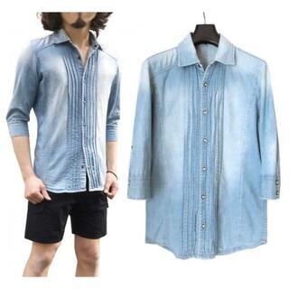 ゴーサンゴーイチプールオム(5351 POUR LES HOMMES)の5351 7分袖 プリーツ デニム シャンブレーシャツ 2 ライトインディゴ (シャツ)