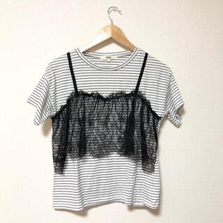 オゾック(OZOC)のOZOC ボーダーTシャツ レースビスチェ(Tシャツ(半袖/袖なし))