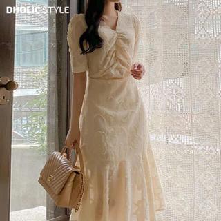 dholic - DHOLIC(ディーホリック)バックリボンフリンジテクスチャーワンピース 春服