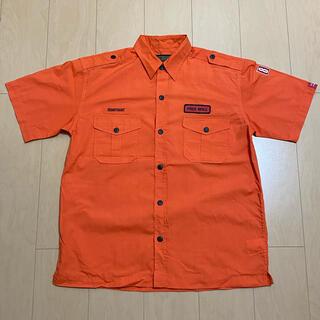 襟付きシャツ*半袖*オレンジ*L(シャツ)