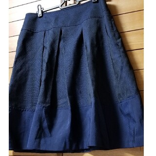 【値下げ❗】ドット織地のネイビーのプリンセスラインスカート