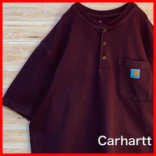 carhartt - 【ビッグシルエット】カーハート ポケット tシャツ   ボルドーヘンリーネック