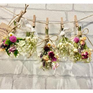 ドライフラワー スワッグ ガーランド❁196ピンク 薔薇 かすみ草 白 花束♪(ドライフラワー)