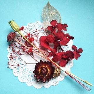 ♪おまとめ購入100円引き♪アロマワックス向け 小さめ花材セット (レッド)(ドライフラワー)