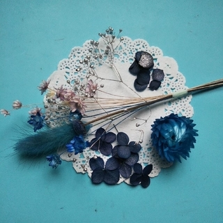 ♪おまとめ購入100円引き♪アロマワックス向け 小さめ花材セット (ブルー系)(ドライフラワー)