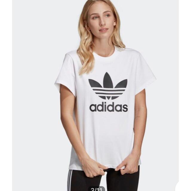 adidas(アディダス)の新品タグ付き!adidas ボーイフレンド トレフォイル 半袖Tシャツ 白 レディースのトップス(Tシャツ(半袖/袖なし))の商品写真