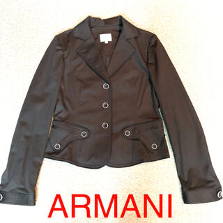 ARMANI COLLEZIONI - 美品 ARMANI COLLEZIONI アルマーニ 黒 ジャケット コットン