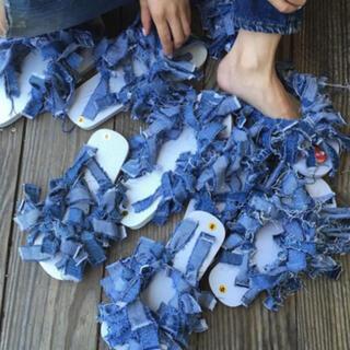 ロキエ(Lochie)のdenim sandals 古着 リメイク vintage フリンジ(サンダル)