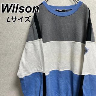 ウィルソン(wilson)のLサイズ 古着 ウィルソン トレーナー ワンポイント ビッグシルエット(スウェット)