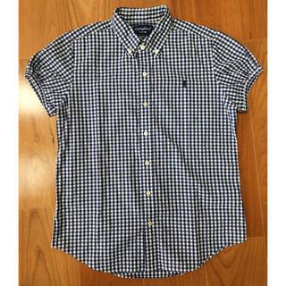 GYMPHLEX - ジムフレックス ネイビー✖️白ギンガムチェック 半袖シャツ