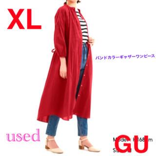 GU - GU シャツワンピース バンドカラーギャザーワンピース 七分袖 赤 XL