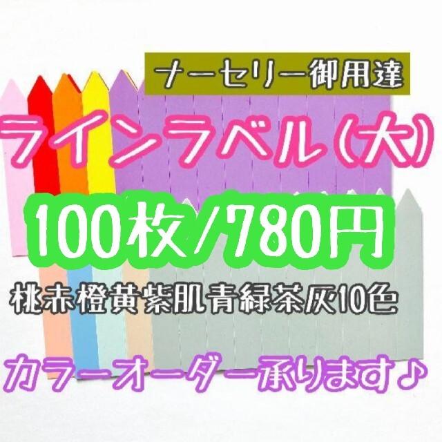 ◎ 100枚 ◎ 10色 (大) ラインラベル 園芸ラベル カラーラベル ハンドメイドのフラワー/ガーデン(プランター)の商品写真