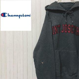 Champion - チャンピオン プルオーバー パーカー スウェット ダークグレー ロゴ XS