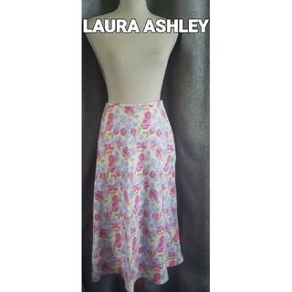 ローラアシュレイ(LAURA ASHLEY)の大変美品 LAURA ASHLEY 可愛い花柄の麻スカート(ひざ丈スカート)