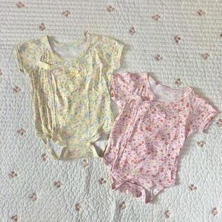 ニシキベビー(Nishiki Baby)のsweetgirl 花柄 半袖肌着 ロンパース 前開き(肌着/下着)