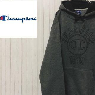 Champion - チャンピオン プルオーバー パーカー スウェット ビックロゴ ダークグレー L