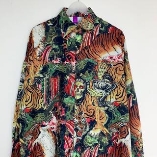 虎柄 和柄 長袖シャツ アロハシャツ 虎