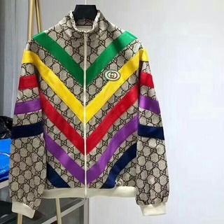 Gucci - グッチカラーストライプスタンドカラー  コート