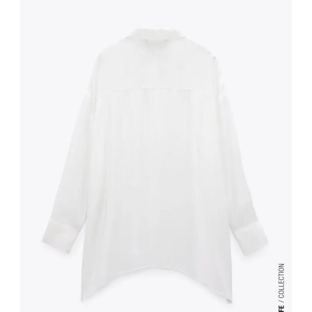 ZARA(ザラ)の【新品・タグ付き】ZARA  スリット入りサテン地シャツ XS オーバーサイズ レディースのトップス(シャツ/ブラウス(長袖/七分))の商品写真