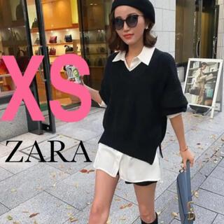 ZARA - 【新品・タグ付き】ZARA  スリット入りサテン地シャツ XS オーバーサイズ