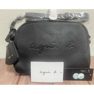 アニエスベー(agnes b.)の新品未使用 アニエスベー エンボスロゴ レザーショルダーバッグ ブラック(ショルダーバッグ)
