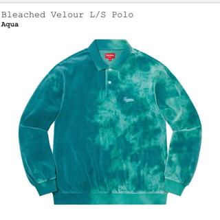 Supreme - Supreme Bleached Velour L/S Polo  Aqua