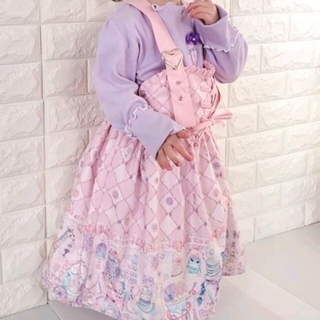 しまむら - 値下げ 新品タグ付き 100cm エコネコ ジャンパースカート ピンク