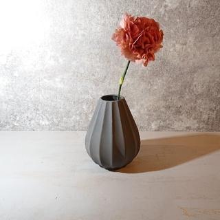 【新品】花器 陶器 一輪挿し 花瓶 グレー おしゃれ 北欧