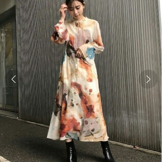 Ameri VINTAGE - UNDRESSED AMELIA INK ART DRESS Sサイズ